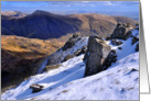 Christmas, The Lake District, Cumbria, winter mountain scene card