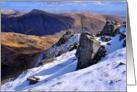 Christmas, The Lake District, Cumbria, winter mountain scene card