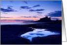 Bamburgh Castle pre dawn - Northumberland Coast - Blank card