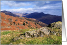 Loughrigg Fell, View towards Fairfield, The Lake District - Blank card