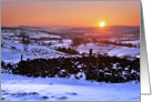 Snowy Winter sunset on The Helm, Kendal, Cumbria - Blank card