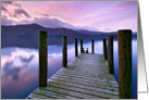 Tranquil lake and jetty after sunset - Blank card