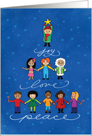 Joy, Love, Peace with Children Illustrated Christmas Card