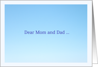 Dear Mom and Dad ... card