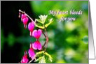 Pink Bleeding Heart Flower Reflecting Valentine Relationship card