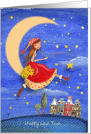 New Year - Girl on the moon - Catching stars card