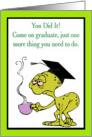 Tired Alien With coffee And Mortarboard Graduation Card