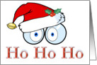 Ho Ho Ho Cartoon Eyes With Santa Hat Christmas Card