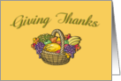 Thanksgiving Giving Thanks Basket of Fruit Card