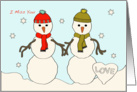 Snowmen � I Miss You - Love card
