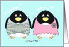 I Miss You - Penguins in Love card