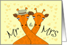 Wedding congratulations - Mr and Mrs Giraffe card