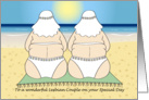 Wedding Congratulations - Beach Couple - Lesbian card