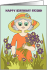 Birthday - Friend - Flower Garden card