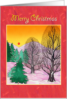 Merry Christmas, snow scene winter sun card
