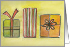 Christmas, Wrapped Gifts, Watecolors card