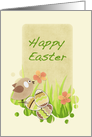 Easter Chick and Eggs - Happy Easter Card