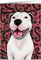 Pink Retro American Pit Bull Terrier Dog card