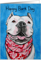 Happy Birthday Bark Day White American Pit Bull Dog Painting card