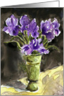 Get Well Soon Purple Iris Flowers in Vase Card