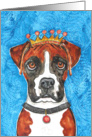 King Crown White Brown Boxer Dog Blank Note Card