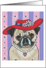Red Hat Daisy Pug Dog Blank Note Card