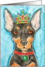 King Crown Miniature Pinscher Dog Blank Note Card