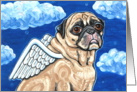 Angel Wings Pug Dog Clouds Animal Blank Note Card