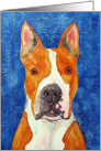 Yellow Pit Bull Terrier Ears Dog Blank Card
