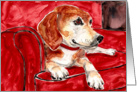 Sleeping Nap Beagle Hound Dog Red Chair Blank Card