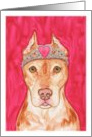 Princess Pit Bull Dog with Rhinestone Pink Heart Tiara Blank Note Card