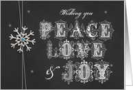 Chalkboard Snowflake Peace Love & Joy card