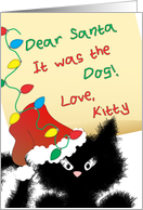 Funny Black Cat - Dear Santa It was the Dog Christmas Card by Charlyn Woodruff / CWDesigns