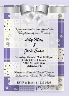 Lilac Customizable Christening/Baptism Invitation in Patchwork Greeting Card