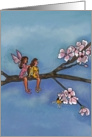 Sister Birthday Greet / fairy sisters on a floral tree branch card