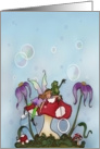 Missing a friend / fairy and frog playing bubbles. card