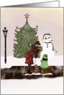 Christmas Joy out door scene with lady, dog, and little girl card