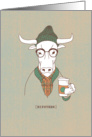 Hipster Cow Pun with Coffee, Funny Birthday card