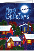Santa & Reindeer over Moon and Houses, Merry Christmas card