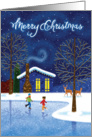 House on the Lake with Ice Skaters, Merry Christmas card
