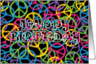 Peace Signs Happy Birthday card
