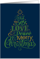 Joy, Love & Peace Merry Christmas Tree card