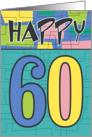 Happy 60th Birthday, Colorful retro design card