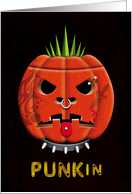 Punk Pumpkin with Tattoos, Dog Collar and Piercing Halloween card