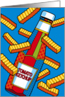 Ketchup Bottle with French Fries Flying Thinking of You card