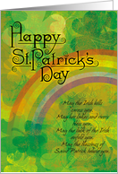 St. Patrick's Day Poem with Clovers and Rainbow card