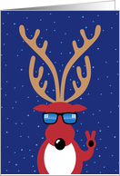 Christmas, Cool Reindeer Giving Peace Sign with Shades card