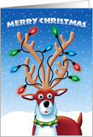 Merry Christmas, Cute Reindeer with Lights in Antlers card