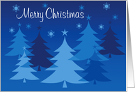 Merry Christmas, Blue Pine Trees, Stars and Snowflakes card