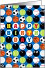 Happy Birthday, Various Sports Balls Pattern card